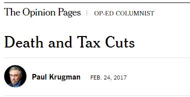 克鲁格曼:死亡与减税