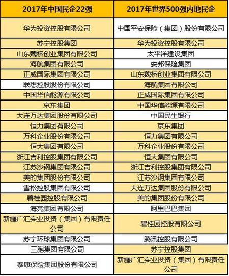 2017年中国民企22强-2017年世界500强内地企业